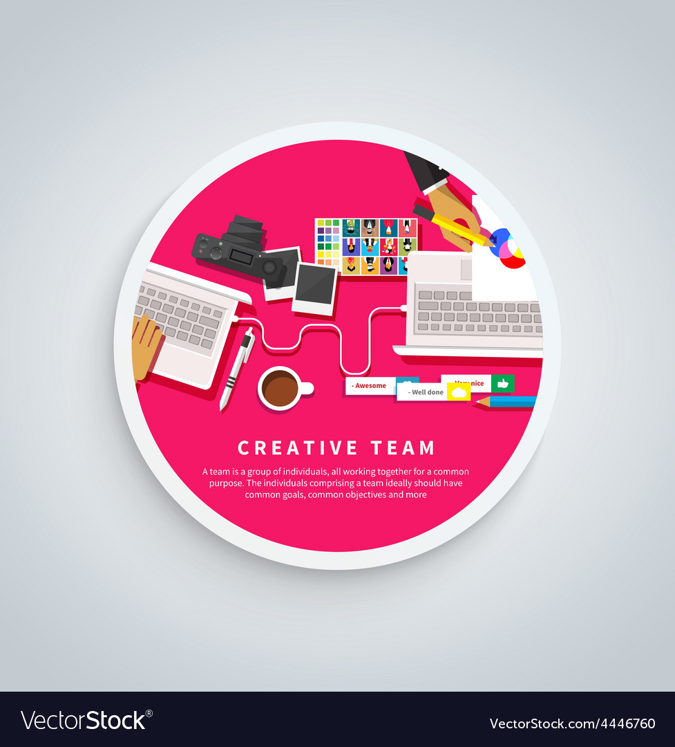 Creative team young team working at desk vector | Price: 1 Credit (USD $1)