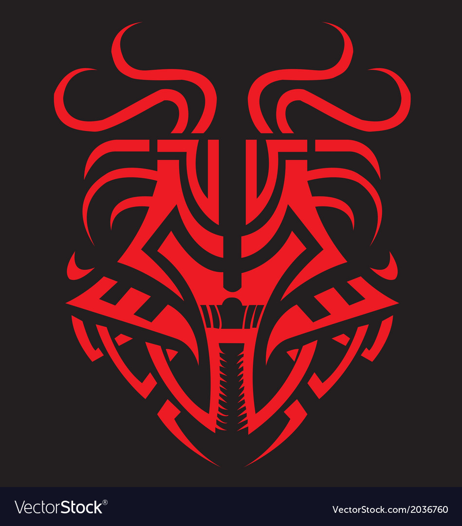 Dragon mask tribal fiery dragon symbol vector | Price: 1 Credit (USD $1)