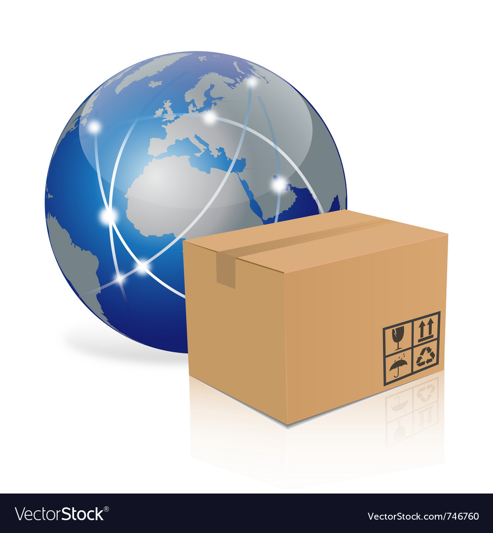 Earth with cardboard box vector
