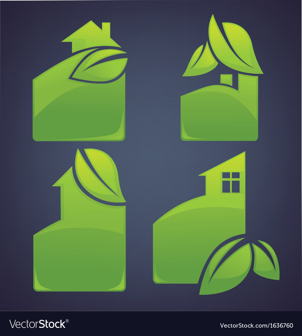 Eco cottages vector | Price: 1 Credit (USD $1)