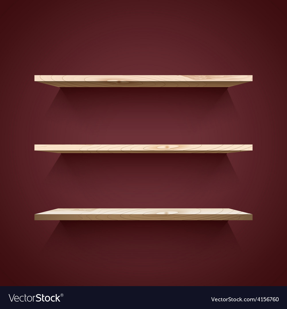 Empty wooden shelves vector | Price: 1 Credit (USD $1)