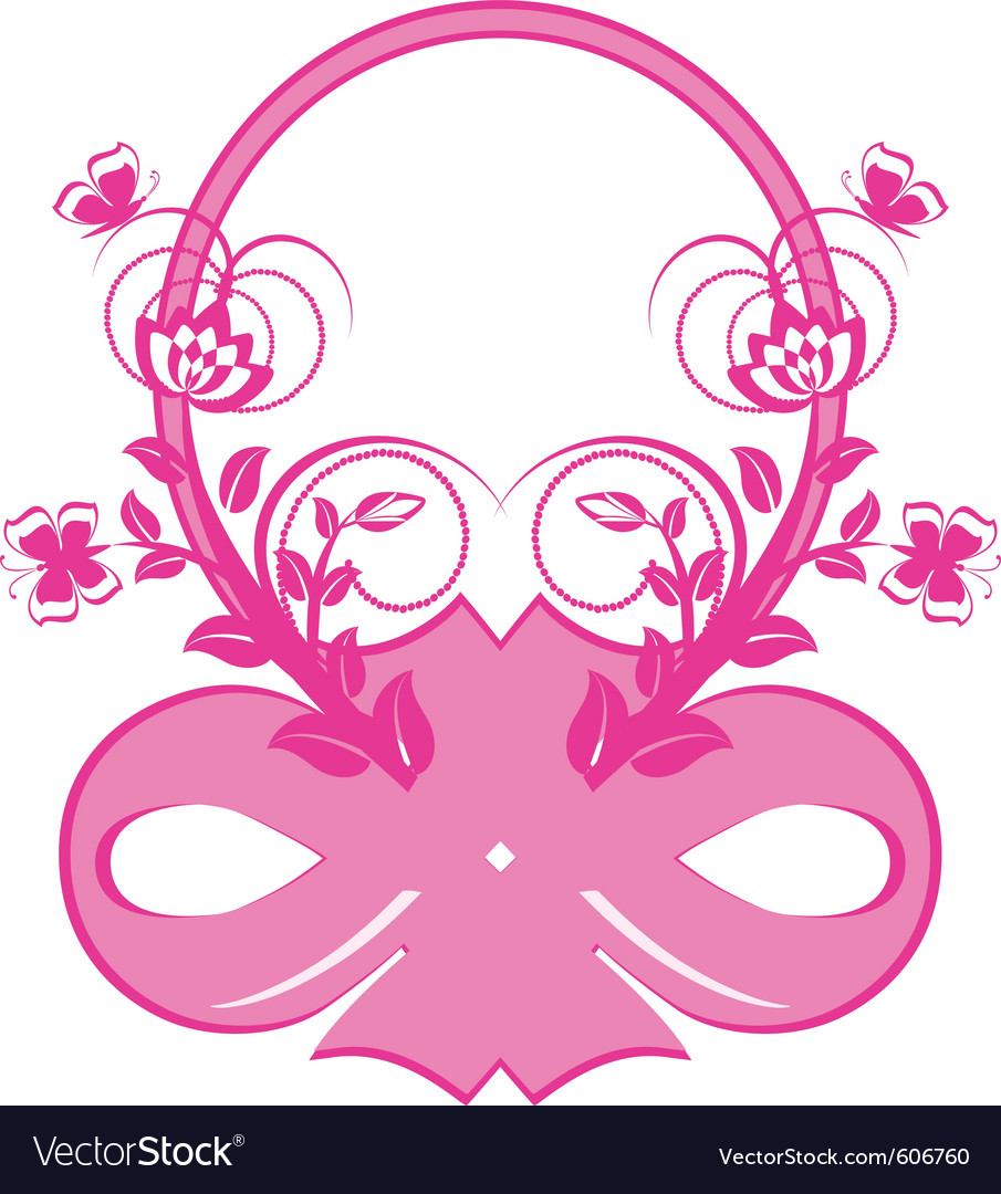 Frame with pink ribbons and ornament vector | Price: 1 Credit (USD $1)
