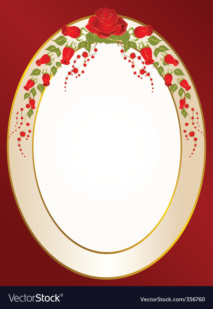 Frame with roses vector | Price: 1 Credit (USD $1)