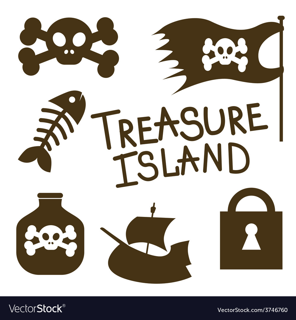Treasure island icons set vector | Price: 1 Credit (USD $1)