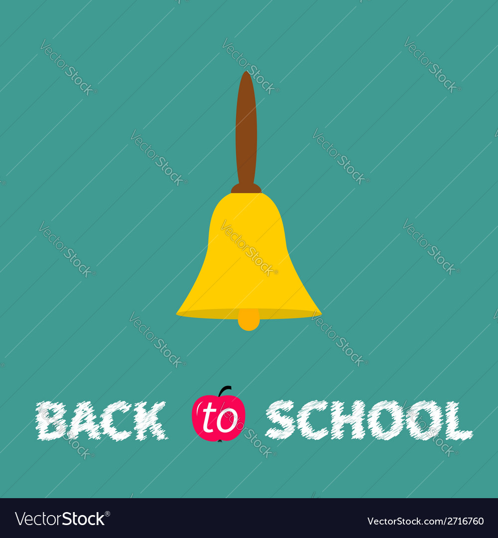 Yellow bell with handle back to school chalk text vector | Price: 1 Credit (USD $1)