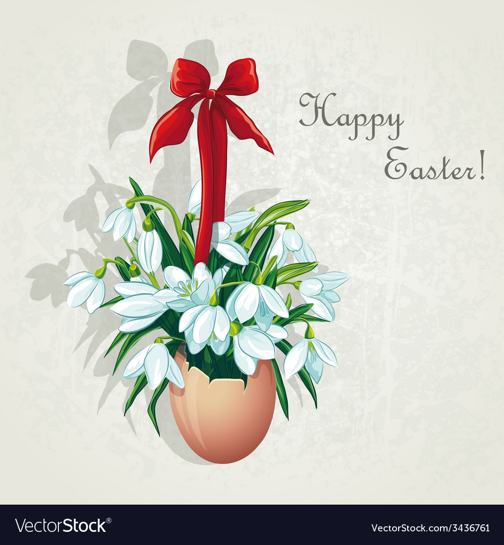 Easter card for the day with snowdrops vector | Price: 3 Credit (USD $3)