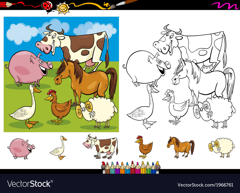 Farm animals coloring page set vector | Price: 1 Credit (USD $1)