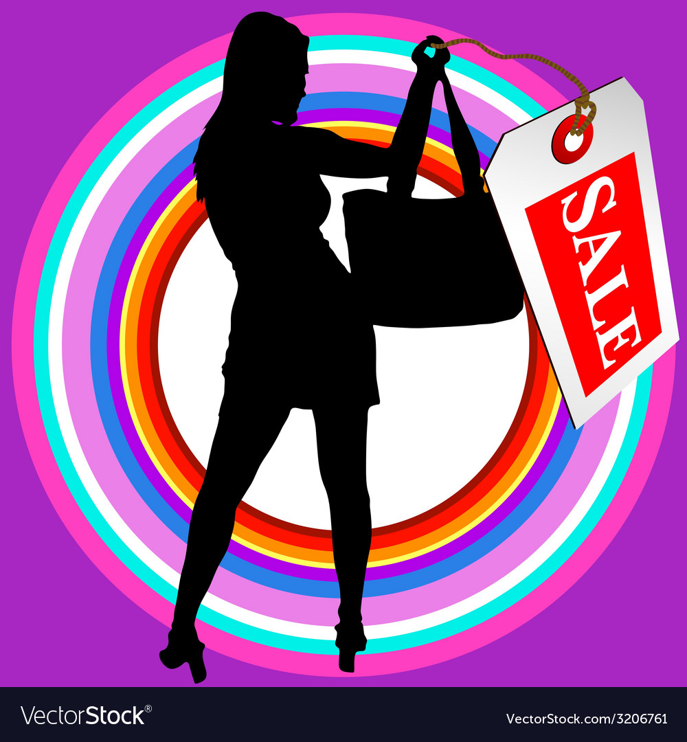 Girl in black silhouette with sale tag vector | Price: 1 Credit (USD $1)