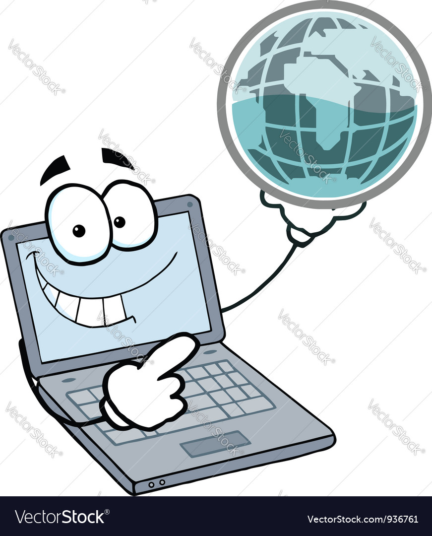 Laptop guy holding a globe vector | Price: 1 Credit (USD $1)