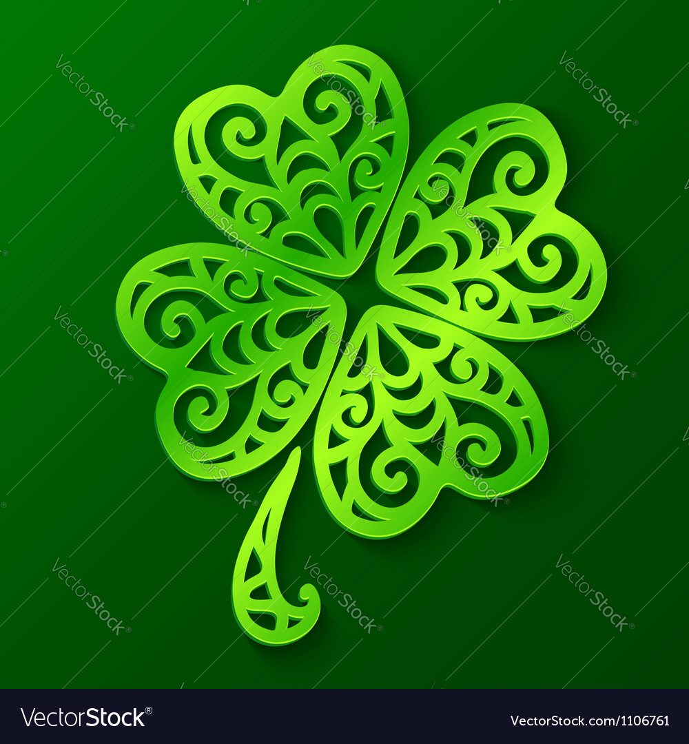 Ornate green cut out paper clover vector | Price: 1 Credit (USD $1)