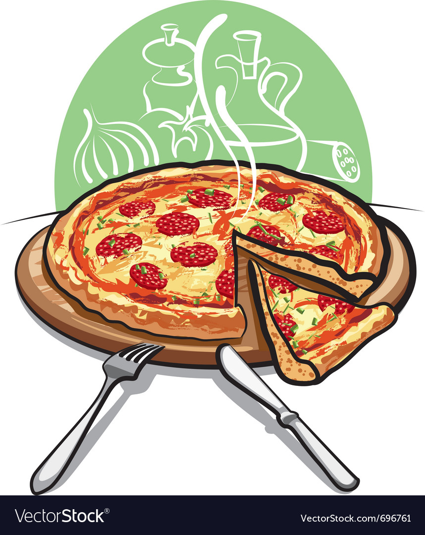 Pizza with salami vector | Price: 3 Credit (USD $3)