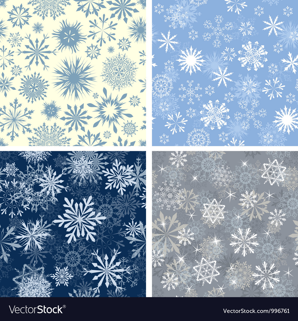 Snowflakes seamless set vector | Price: 1 Credit (USD $1)