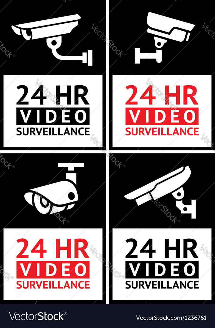 Stickers camera surveillance set vector | Price: 1 Credit (USD $1)