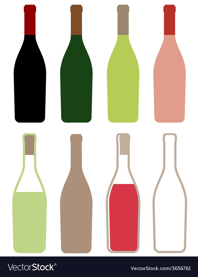 Wine bottles icons vector | Price: 1 Credit (USD $1)