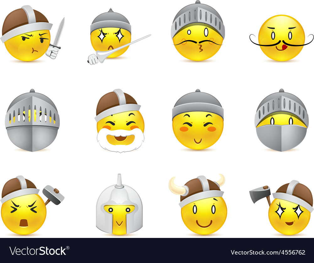 Anime smilies vikings and knights vector | Price: 1 Credit (USD $1)