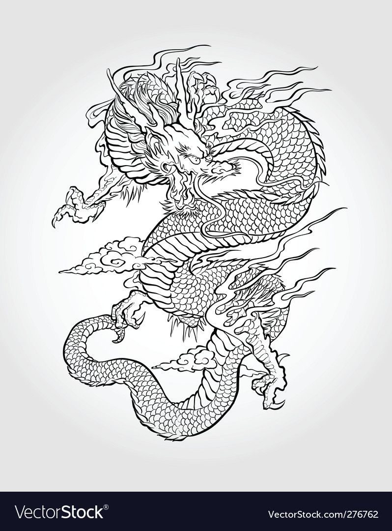 Asian dragon illustration vector | Price: 1 Credit (USD $1)