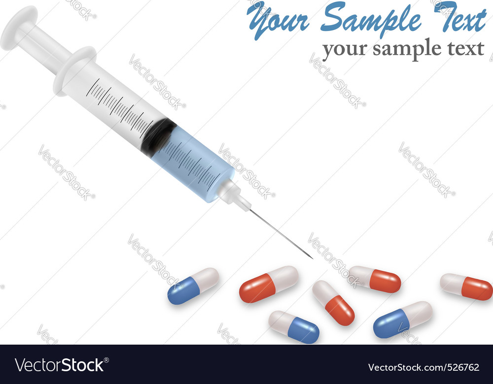 Background with syringe and pills vector | Price: 1 Credit (USD $1)