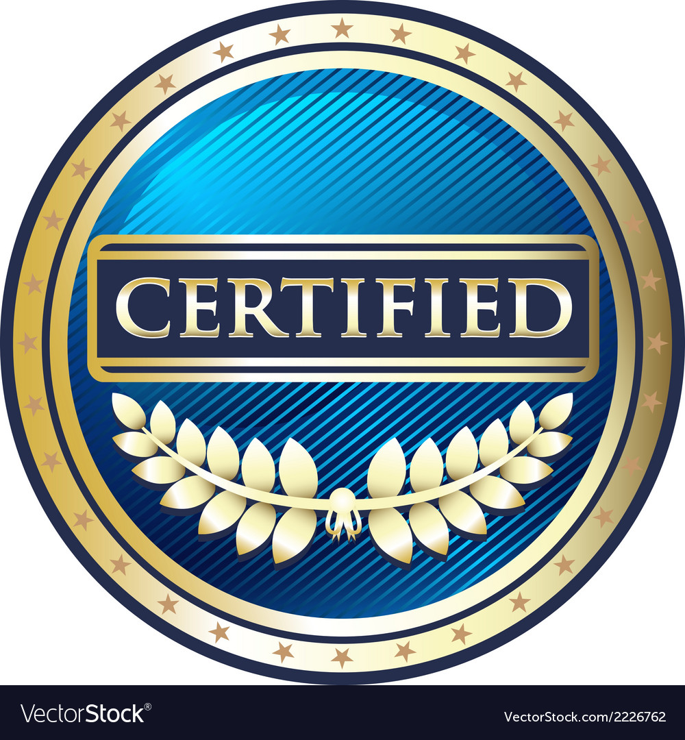 Certified blue label vector | Price: 1 Credit (USD $1)
