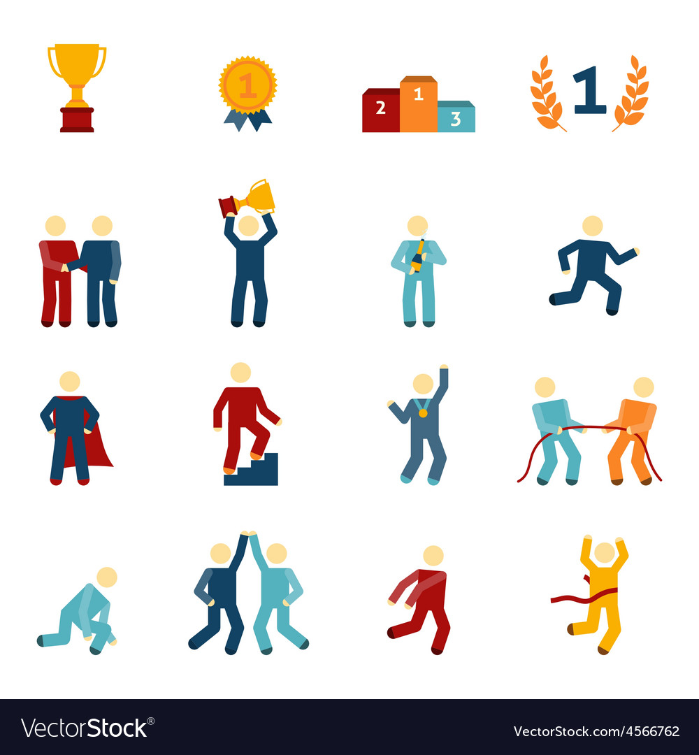Competition icons flat set vector | Price: 1 Credit (USD $1)