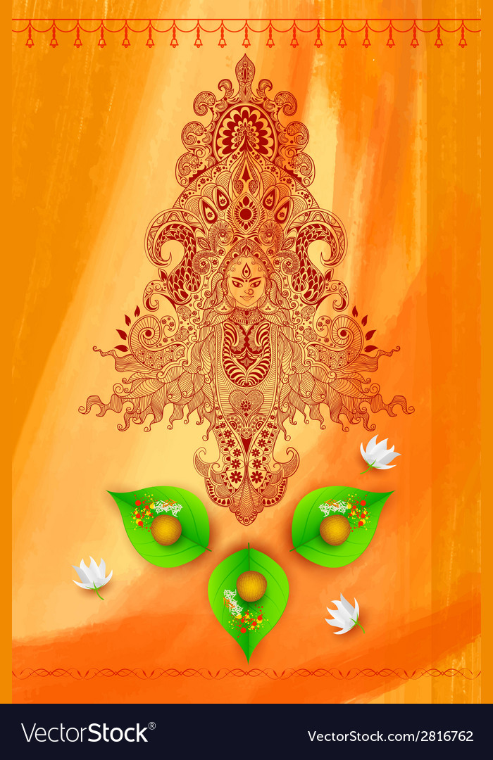 Goddess durga against watercolor background vector | Price: 1 Credit (USD $1)