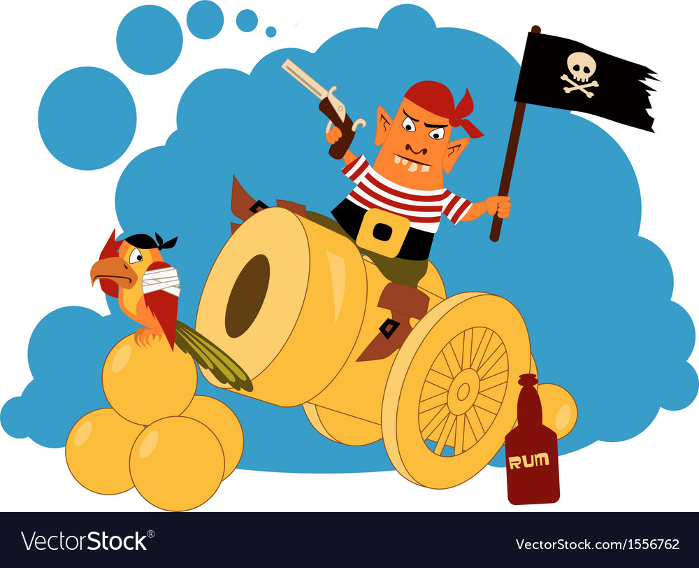 Pirate on a cannon vector | Price: 1 Credit (USD $1)