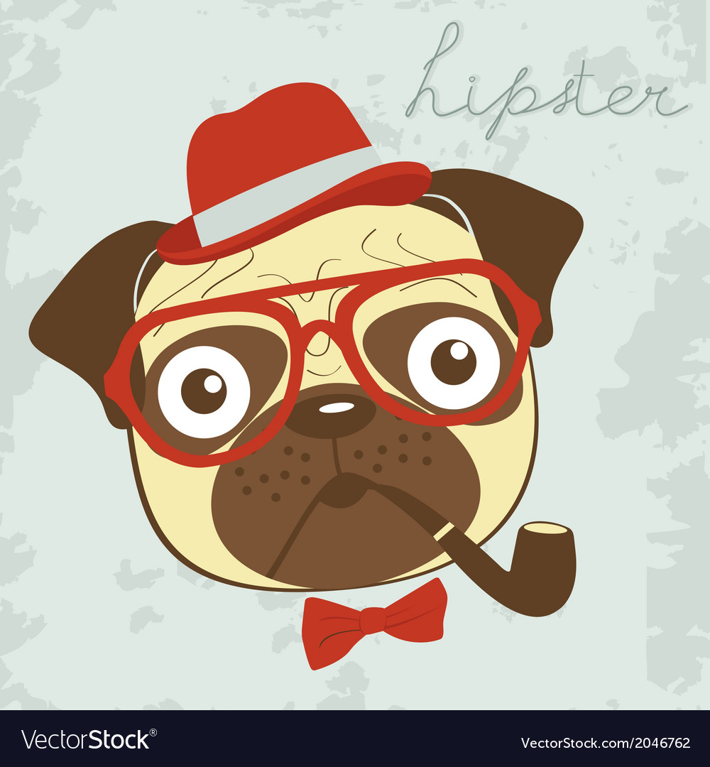 Pug hipster smoking pipe vector | Price: 1 Credit (USD $1)