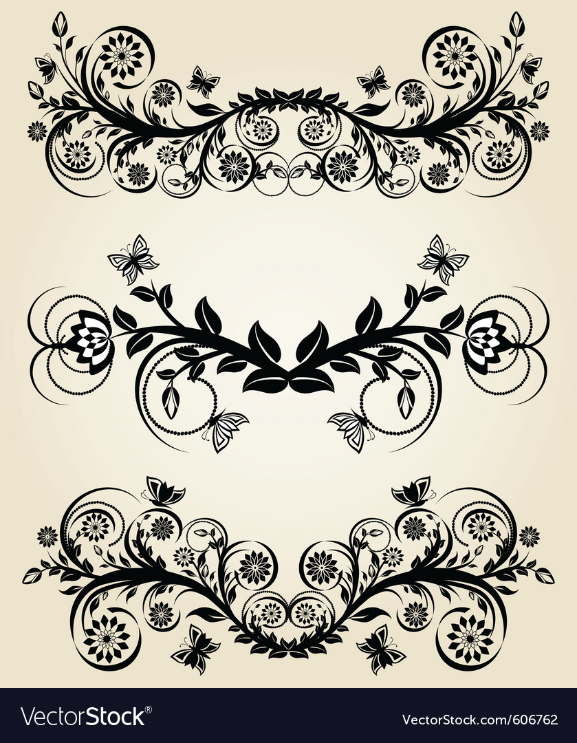 Set of vintage black floral borders vector | Price: 1 Credit (USD $1)