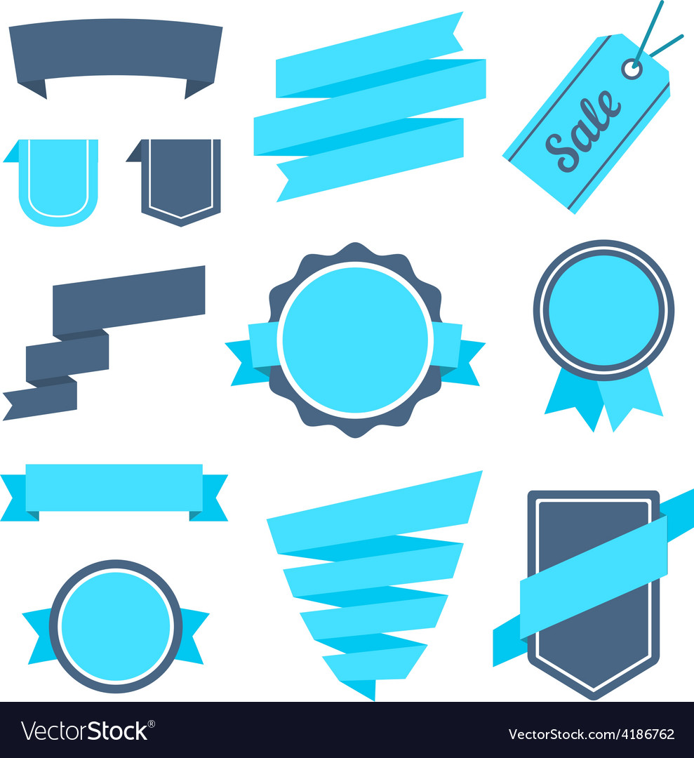 Stickers and badges set 7 flat style vector | Price: 1 Credit (USD $1)
