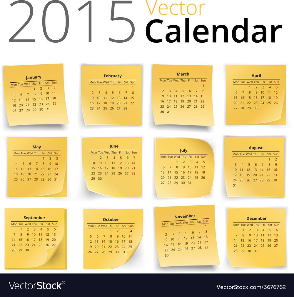 Stiky calendar vector | Price: 1 Credit (USD $1)