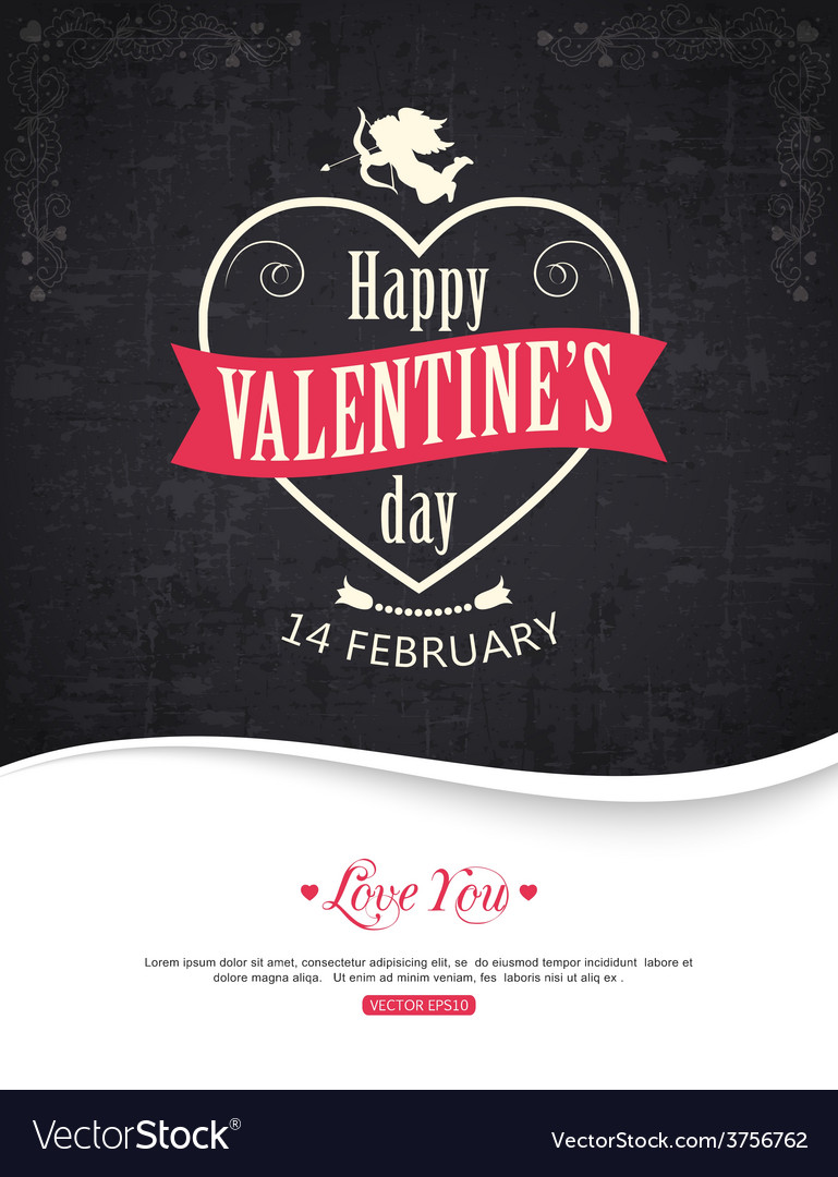 Valentines day typographical background with place vector | Price: 1 Credit (USD $1)