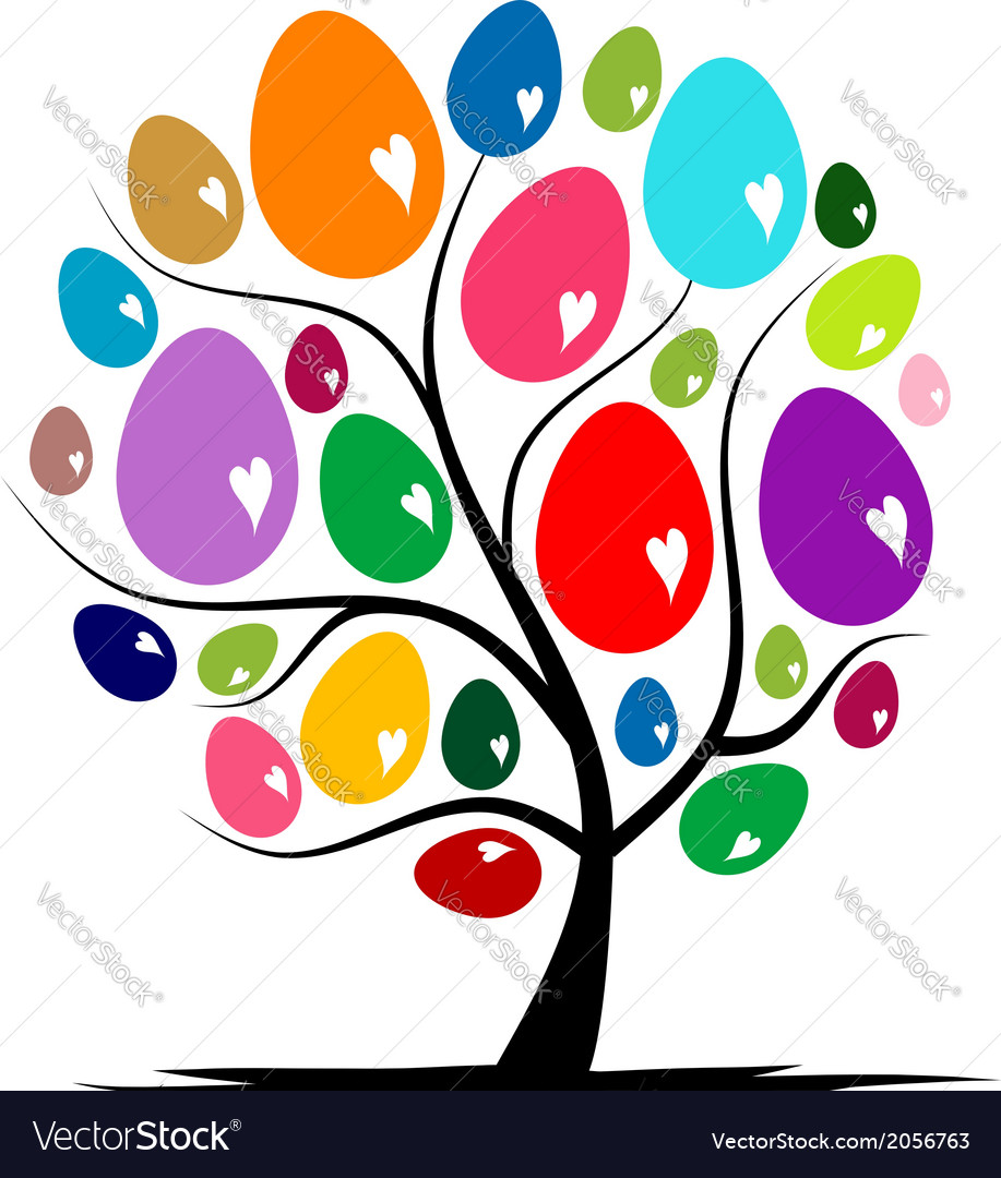 Art tree with easter eggs for your design vector | Price: 1 Credit (USD $1)