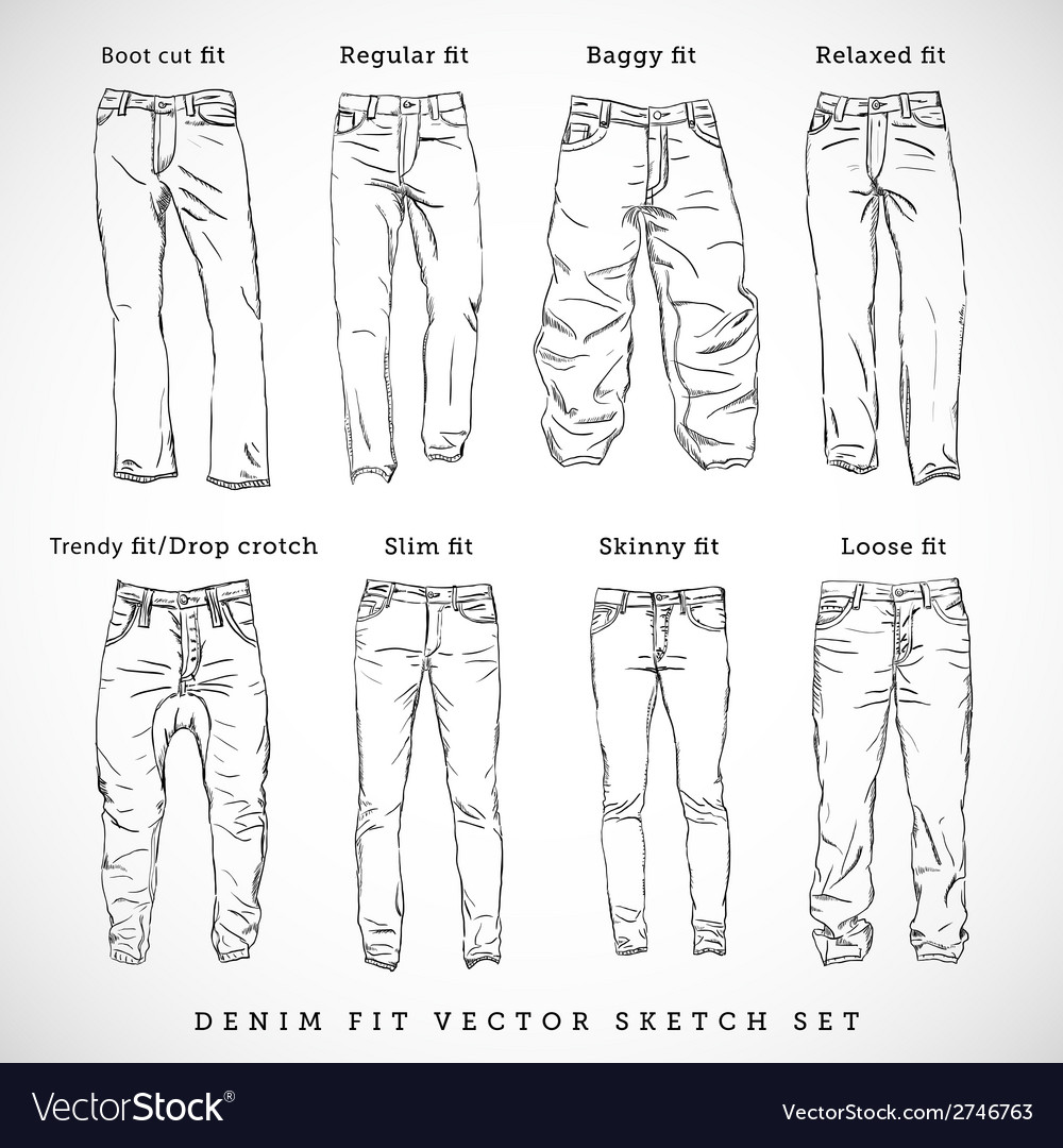 Denim fit hand drawn sketch set vector | Price: 1 Credit (USD $1)