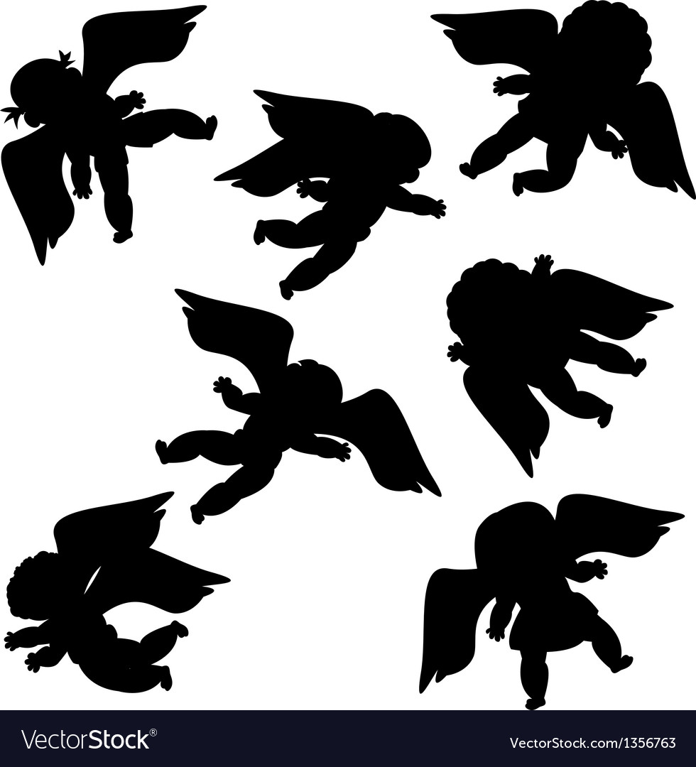 Flying angels silhouettes vector | Price: 1 Credit (USD $1)