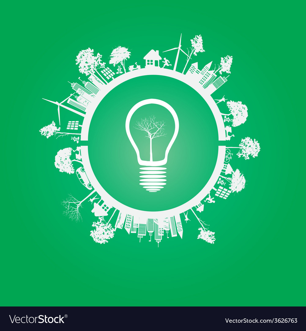 Green eco earth on green background vector | Price: 1 Credit (USD $1)