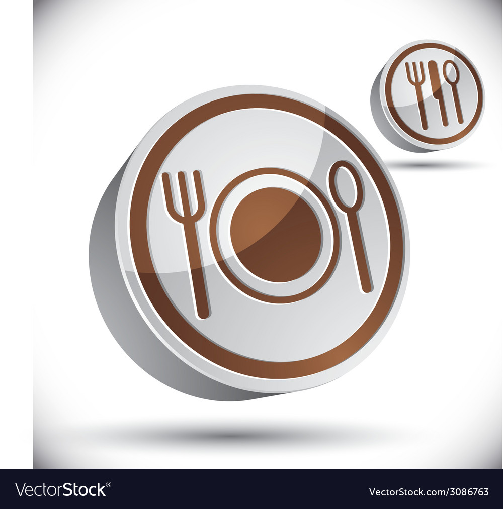 Plate fork and spoon 3d icon vector | Price: 1 Credit (USD $1)
