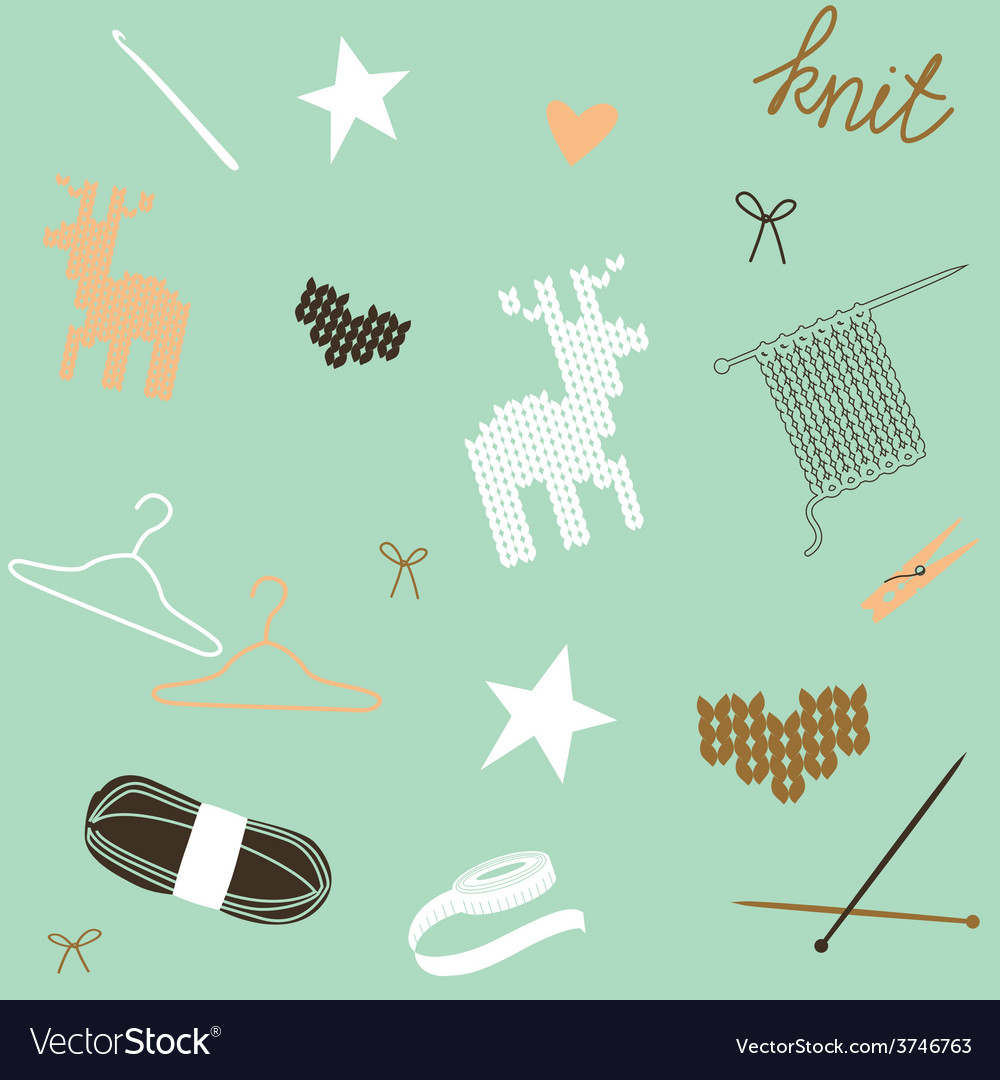 Seamless composition with knit tools and patterns vector | Price: 1 Credit (USD $1)
