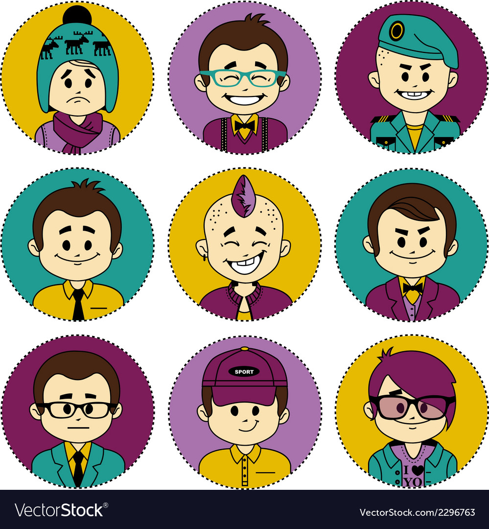 Set icons with characters different professions vector | Price: 1 Credit (USD $1)
