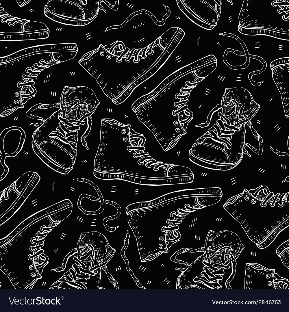 Sneakers seamless background vector | Price: 1 Credit (USD $1)
