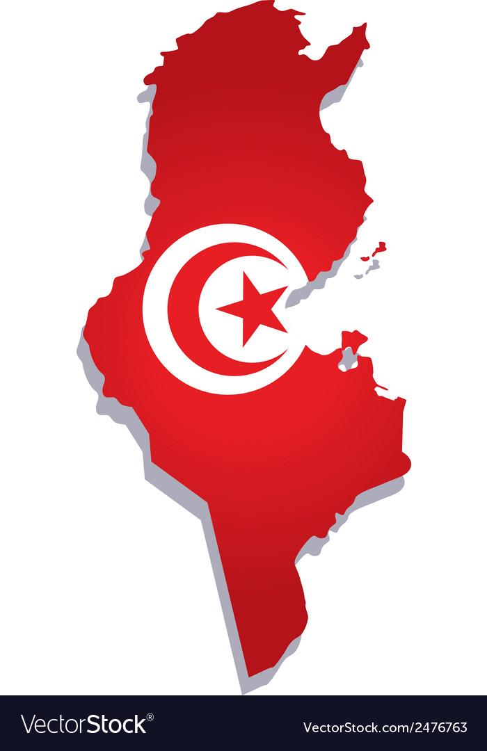 Tunisia africa map flag vector | Price: 1 Credit (USD $1)