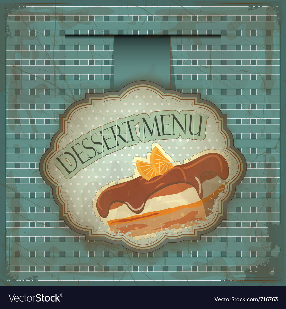 Vintage dessert menu card - label with cake - vector | Price: 1 Credit (USD $1)