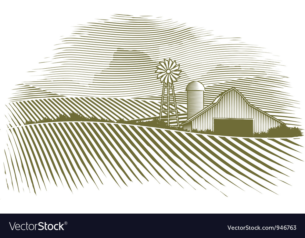 Woodcut countryside vector | Price: 3 Credit (USD $3)