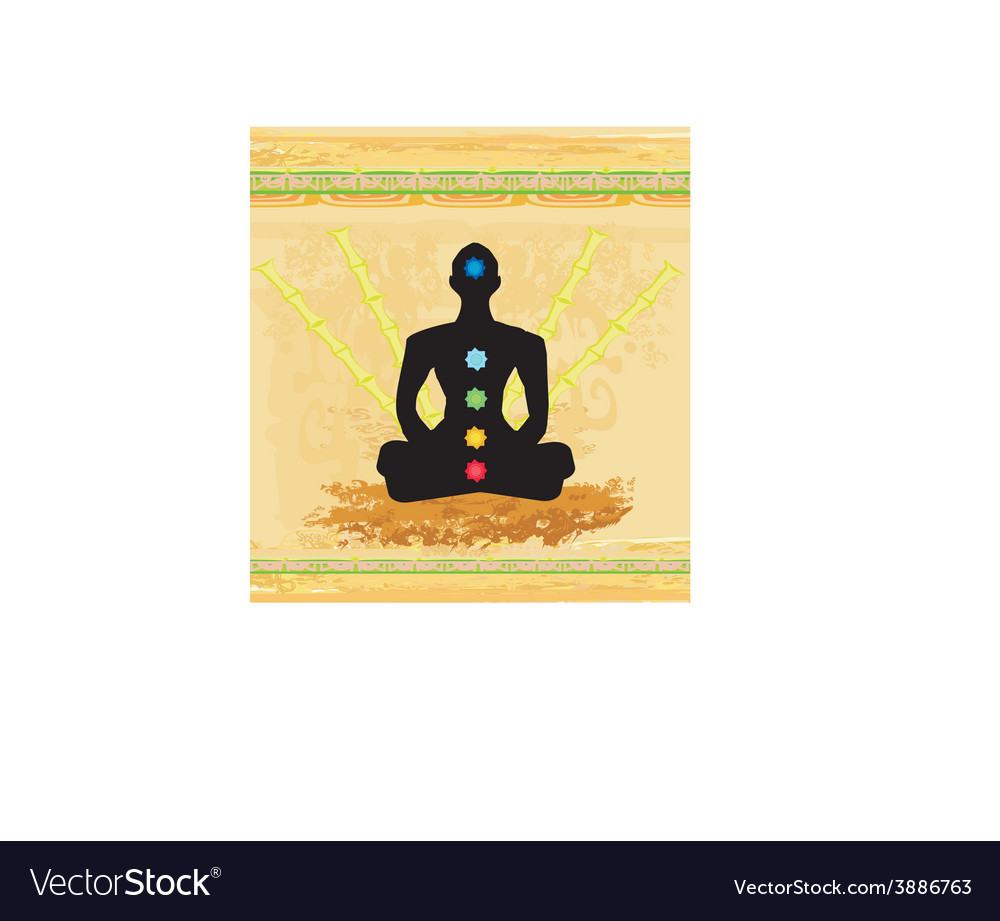 Yoga lotus pose padmasana with colored chakra vector | Price: 1 Credit (USD $1)