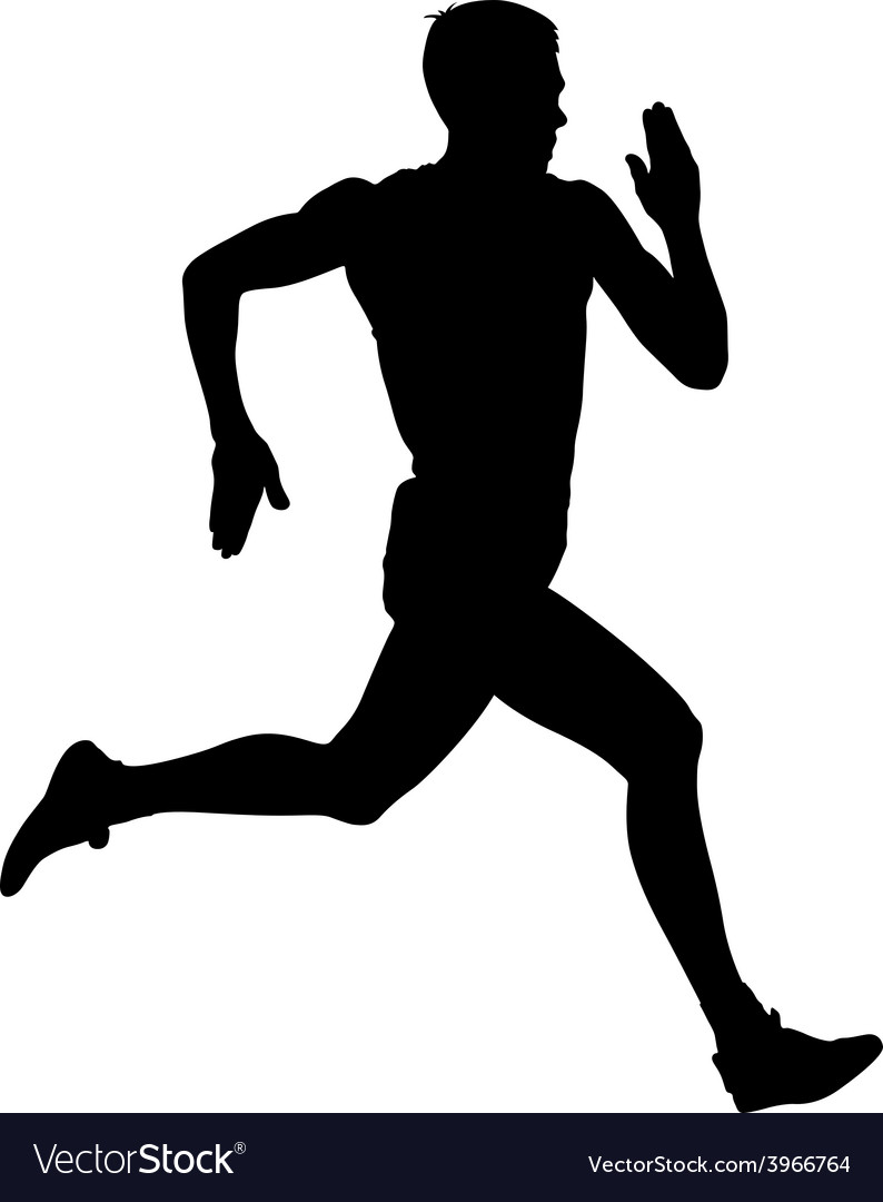 Athlete on running race silhouettes vector   Price: 1 Credit (USD $1)