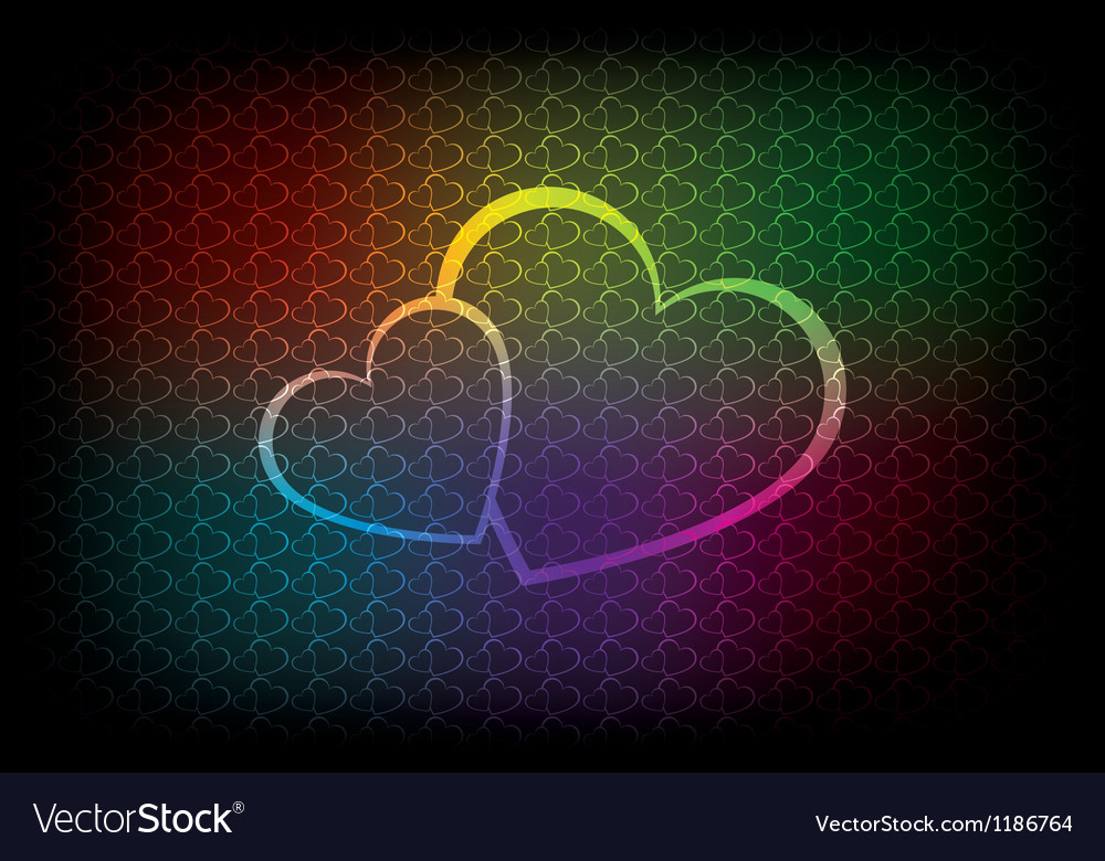Colorful background with two hearts vector | Price: 1 Credit (USD $1)