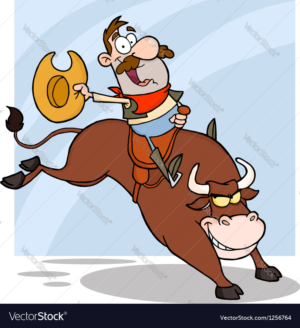 Cowboy riding bull in rodeo vector | Price: 1 Credit (USD $1)