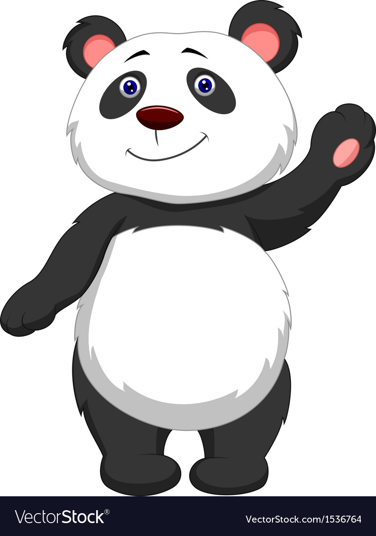 Cute panda cartoon waving vector | Price: 1 Credit (USD $1)