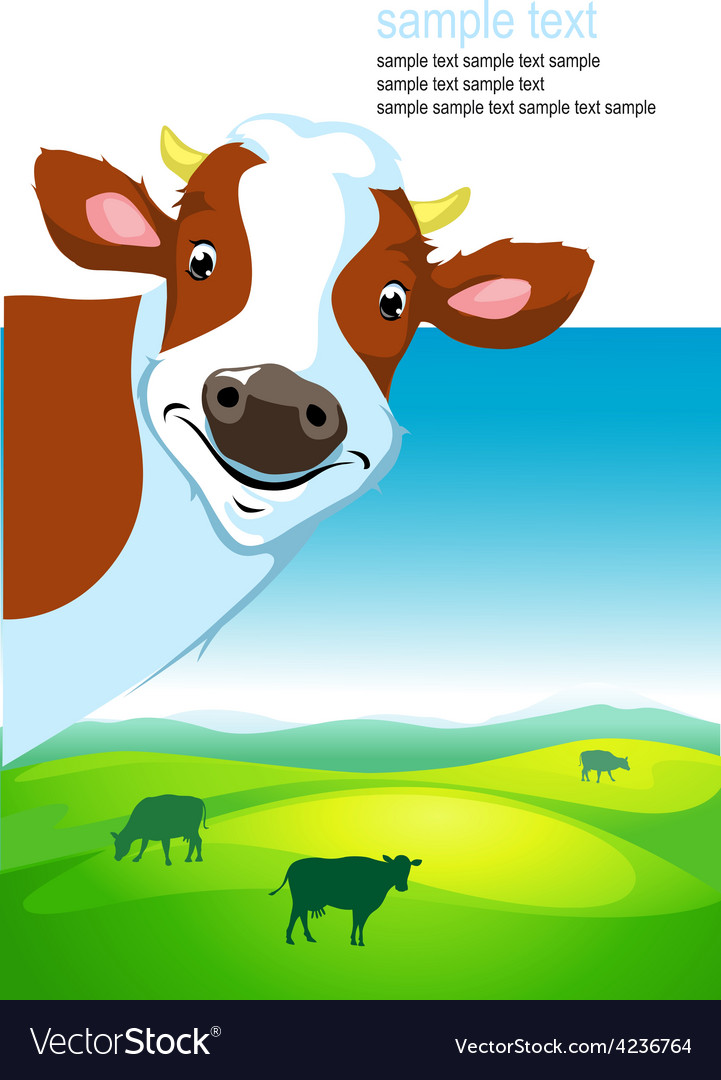 Design with cow and landscape vector | Price: 1 Credit (USD $1)