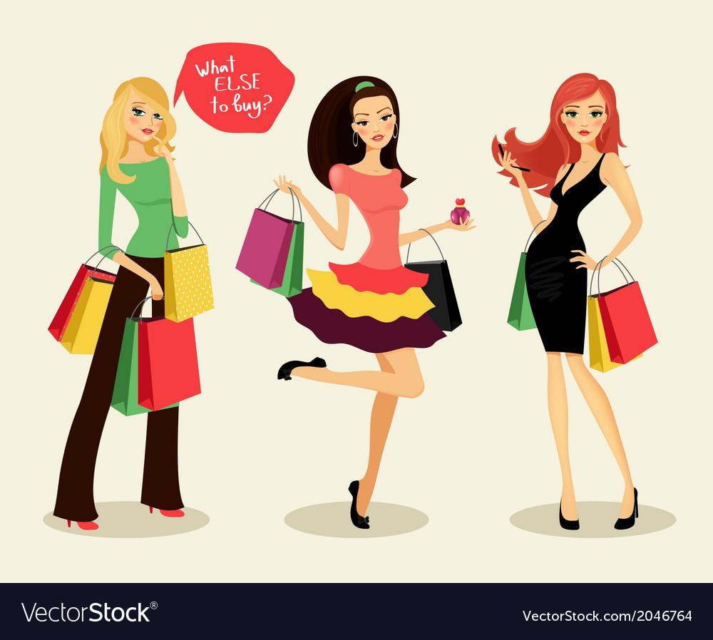 Fashion shopping girls vector | Price: 1 Credit (USD $1)