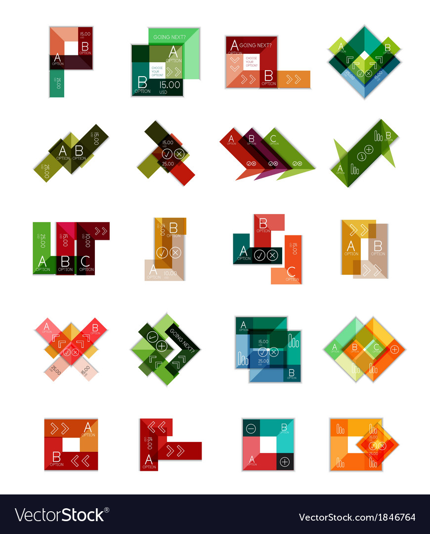 Geometric shaped infographic templates collection vector | Price: 1 Credit (USD $1)