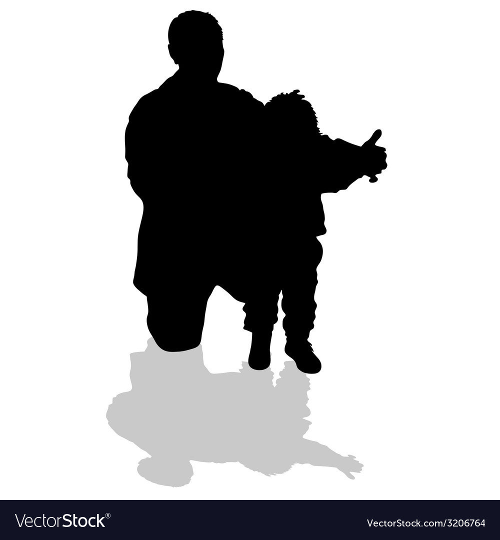 Grandfather holding his granddaughter black vector | Price: 1 Credit (USD $1)